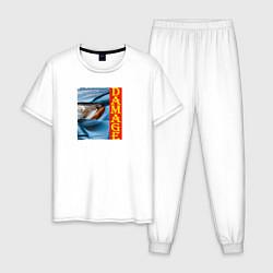 Пижама хлопковая мужская Разбитая машина Toyota Altezza цвета белый — фото 1