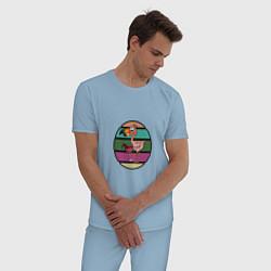 Пижама хлопковая мужская Пьющий фламинго цвета мягкое небо — фото 2