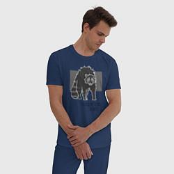 Пижама хлопковая мужская Голод не тетка, а енот цвета тёмно-синий — фото 2