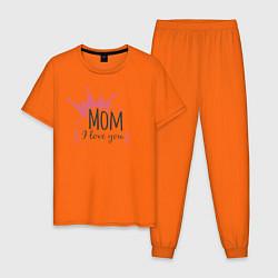 Пижама хлопковая мужская Mom i love you цвета оранжевый — фото 1