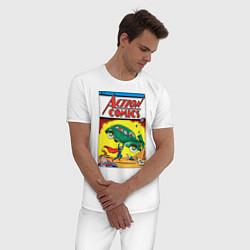 Пижама хлопковая мужская Супермен Action Comics 1 цвета белый — фото 2