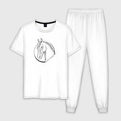 Пижама хлопковая мужская Лошадь - линейный рисунок цвета белый — фото 1