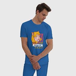 Пижама хлопковая мужская Are you KITTEN ME цвета синий — фото 2