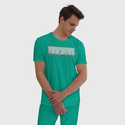 Пижама хлопковая мужская Live Биение сердце цвета зеленый — фото 2