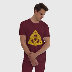 Пижама хлопковая мужская Узор цвета меланж-бордовый — фото 2