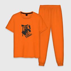 Пижама хлопковая мужская Im not friendly цвета оранжевый — фото 1