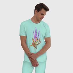 Пижама хлопковая мужская Лаванда цвета мятный — фото 2