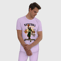 Пижама хлопковая мужская Чемпионы по баскетболу цвета лаванда — фото 2