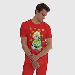 Пижама хлопковая мужская Суйка цвета красный — фото 2