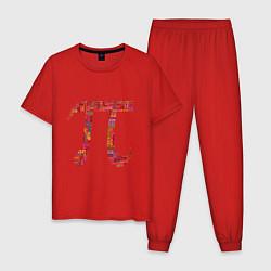 Пижама хлопковая мужская Число пи цвета красный — фото 1
