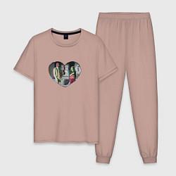 Пижама хлопковая мужская Ванда Вижен цвета пыльно-розовый — фото 1