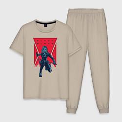Пижама хлопковая мужская Black Widow цвета миндальный — фото 1