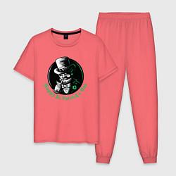 Пижама хлопковая мужская Святой Патрик цвета коралловый — фото 1