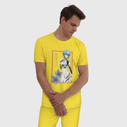 Пижама хлопковая мужская Рей Аянами Evangelion цвета желтый — фото 2