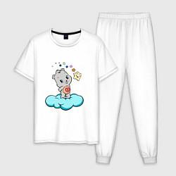 Пижама хлопковая мужская Девушка-медведь цвета белый — фото 1