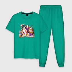 Пижама хлопковая мужская Боа Хэнкок цвета зеленый — фото 1