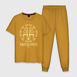Пижама хлопковая мужская Этнический Сахалин цвета горчичный — фото 1