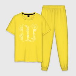 Пижама хлопковая мужская БТС BTS Stay Gold Bangtan Boys цвета желтый — фото 1