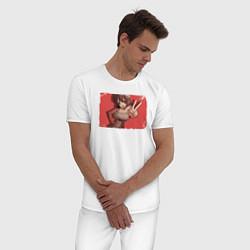 Пижама хлопковая мужская Yuzuriha цвета белый — фото 2