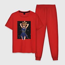 Пижама хлопковая мужская Кохаку Dr Stone цвета красный — фото 1