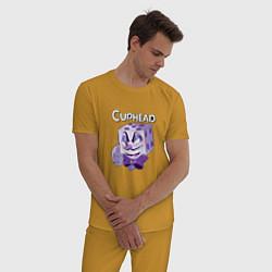 Пижама хлопковая мужская King Cubes Сaphead цвета горчичный — фото 2