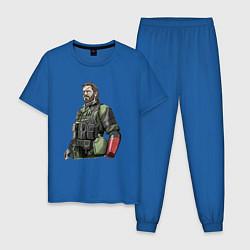 Пижама хлопковая мужская Солид Снейк цвета синий — фото 1