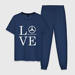 Пижама хлопковая мужская LOVE MERCEDES BENZ цвета тёмно-синий — фото 1