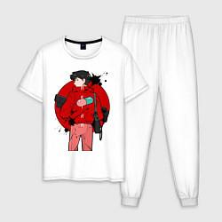 Пижама хлопковая мужская Акира цвета белый — фото 1