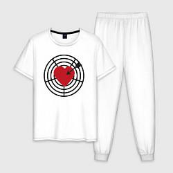 Пижама хлопковая мужская Любовная мишень цвета белый — фото 1