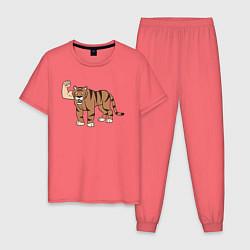 Пижама хлопковая мужская Рукотигр рулит цвета коралловый — фото 1