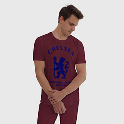 Пижама хлопковая мужская Chelsea Est. 1905 цвета меланж-бордовый — фото 2