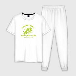 Пижама хлопковая мужская Just Run цвета белый — фото 1