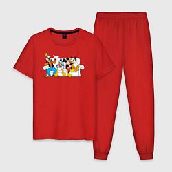 Пижама хлопковая мужская Микки и друзья цвета красный — фото 1