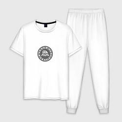 Пижама хлопковая мужская Run today цвета белый — фото 1