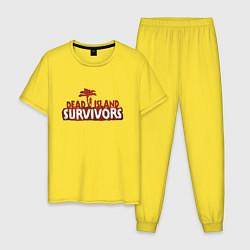 Пижама хлопковая мужская Выжившие цвета желтый — фото 1