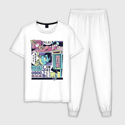 Пижама хлопковая мужская Vaporwave Anime - Call me цвета белый — фото 1