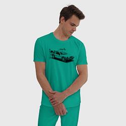 Пижама хлопковая мужская DeLorean цвета зеленый — фото 2