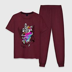 Пижама хлопковая мужская My Lover цвета меланж-бордовый — фото 1