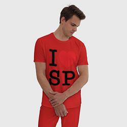 Пижама хлопковая мужская ЛЮБЛЮ ПИТЕР цвета красный — фото 2