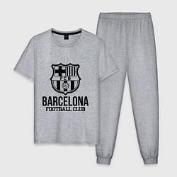 Пижама хлопковая мужская Barcelona FC цвета меланж — фото 1