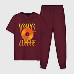 Пижама хлопковая мужская Vinyl Junkie цвета меланж-бордовый — фото 1