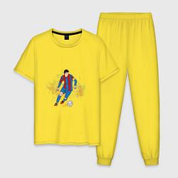 Пижама хлопковая мужская Известный футболист цвета желтый — фото 1