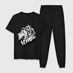 Пижама хлопковая мужская Лев в наушниках цвета черный — фото 1
