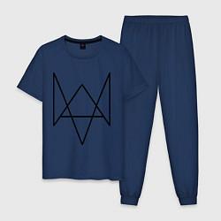 Пижама хлопковая мужская Watch Dogs цвета тёмно-синий — фото 1