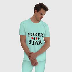 Пижама хлопковая мужская Poker Star цвета мятный — фото 2