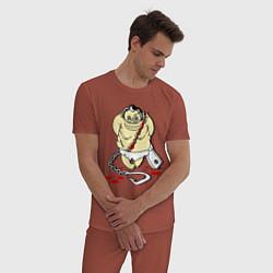 Пижама хлопковая мужская Пуджик Мясник цвета кирпичный — фото 2