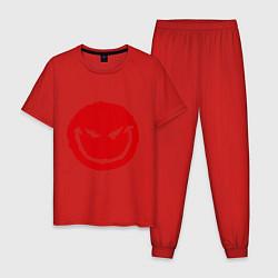 Пижама хлопковая мужская Коварный смайл цвета красный — фото 1