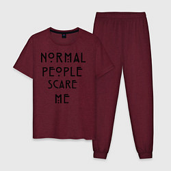 Пижама хлопковая мужская Normal people scare me цвета меланж-бордовый — фото 1