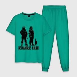 Пижама хлопковая мужская Вежливые люди и кот цвета зеленый — фото 1