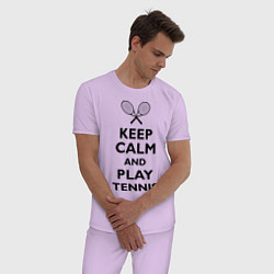 Пижама хлопковая мужская Keep Calm & Play tennis цвета лаванда — фото 2